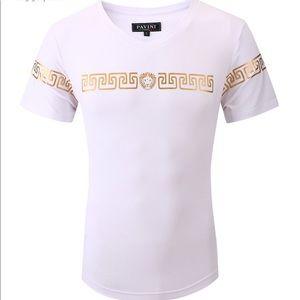 Men's White Gold Pavini V Neck Short Sleeve Tee